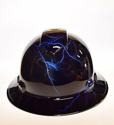 Custom Ridgeline WideBrim Hard Hat OSHA Hydro Dipped in Candy Blue Lightning