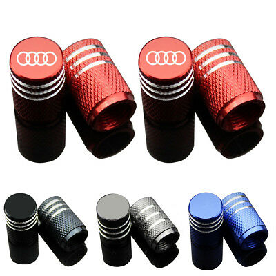 4X Chrome Car Wheel Tyre Tire Air Valve Stem Caps Cover Emblem for Audi Q3 5 7
