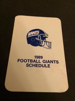 1989 New York Giants 3 Football Pocket Schedules Team Card Version