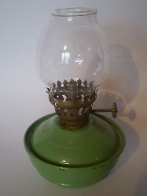 Vintage Small Green Base Nursery Paraffin Oil Lamp With Glass Shade