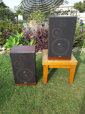 Pair of vintage AWA stereo hifi large floor standing 3 way speakers