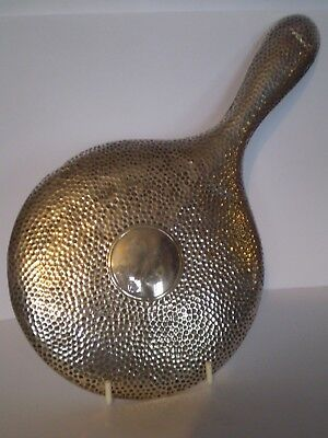 Highly Collectable Antique Solid Silver Hand Mirror With Hammer Effect