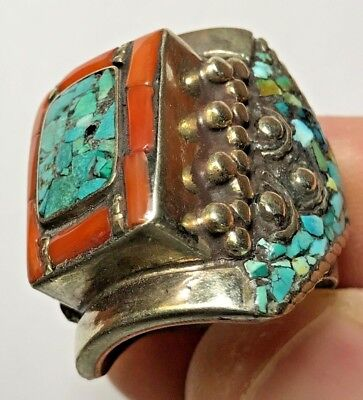 MEDIEVAL SILVER RING WITH RARE STONES VERY BEAUTIFUL 24.1gr 30mm (inner 21mm)