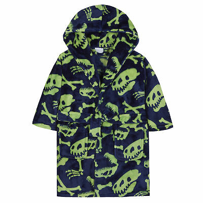 MiniKidz Supersoft Fleece Dinosaur Hooded Dressing Gown Blue