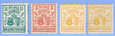 DEUTSCHE STADTPOST BRANDENBURG COURIER 1-4 * (o.3) + 4x (*) = GERMAN LOCALS 1896