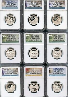 Mixed Lot Of Silver Quarters Different Dates (9pcs) NGC PF70 UC (As Pictured) 3