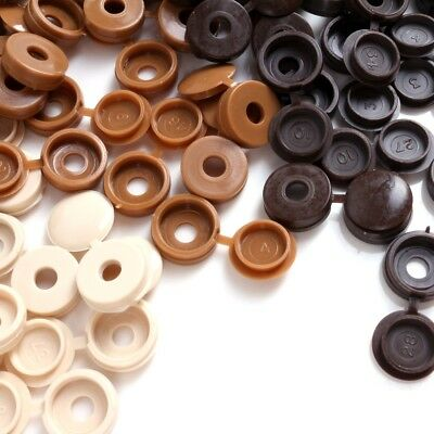 FLIP UP SCREW COVERS Snap Close Dome Head Wood Brown Colours Furniture Caps
