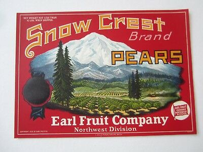 Old Vintage 1920's - SNOW CREST - PEARS - Crate LABEL - Earl Fruit Co. - RED