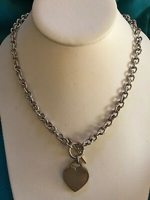 Sterling Silver 925 Rolo Chain Toggle Necklace with Heart Tag Pendant ~48.5 Gram