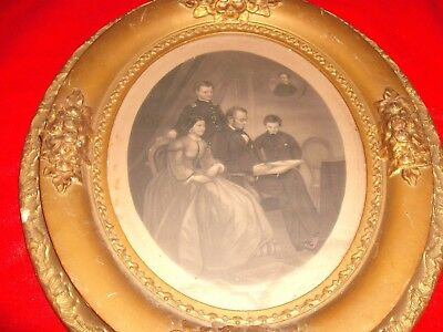Post Civil War 1869 oval framed print Abraham Lincoln and Family portrait 14x12