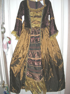 "30"" Waist Brown Gold Dress w/ Hoop Medium NEW Women's Gown Reenactment Costume"