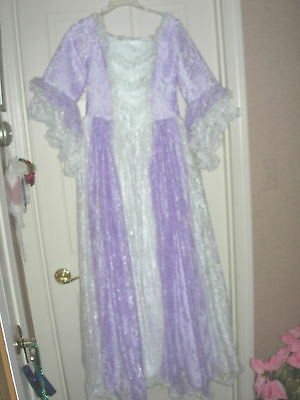 Fancy White Purple Lace 4 6 Small NEW Women's Short Sleeve Victorian Dress Gown