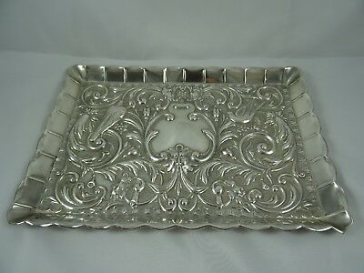 STUNNING solid silver DRESSING TABLE TRAY, c1930, 327gm