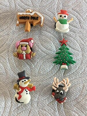 Lot Of Christmas Shoe Charms Fits Crocs Snowman North Pole Rudolph Shoe Charm
