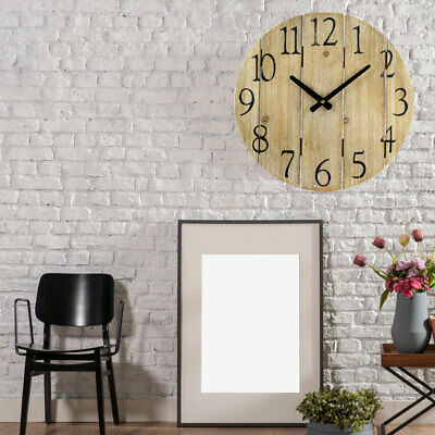 Round Wall Clock Wood Look Time Display Living Dining Room Decoration Numbers