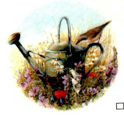 "Watering Can Flower Sparrow 4 pcs 1-3/4"" Waterslide Ceramic Decals Xx"