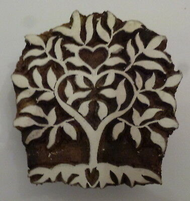 Heart Folk Tree Shaped 6.5cm Indian Hand Carved Wooden Printing Block