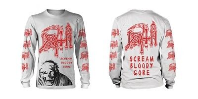 Death 'Scream Bloody Gore 2' White Long Sleeve T shirt - NEW