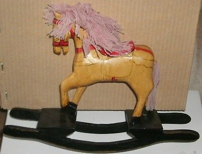 Rocking Horse Hand Carved Vintage Folk Art Wooden and Painted 8 inches