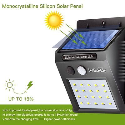 Solar Light 2 Pack 20 LED Motion Sensor Wireless Waterproof Security Outdoor US