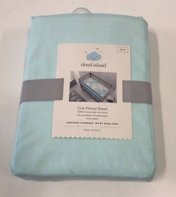 """Cloud Island Fitted Crib Sheet Printed Map Design  28"""" x 52"""" 100% Cotton NEW"""