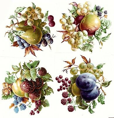 "Fruit Clusters Grape Plum Pear 4 pcs 3-1/2"" Waterslide Ceramic Decals Xx"