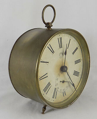 Antique New Haven Brass Drum Clock - Working - Spares Or Repair