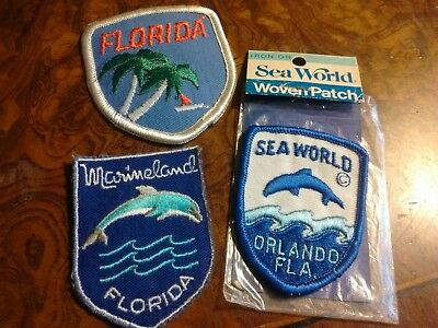 MARINELAND & SEA WORLD FLORIDA Dolphins Palm Trees  Embroidered Souvenir Patches