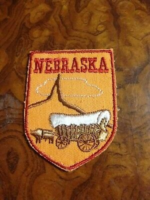 """Vintage Voyager Nebraska Covered Wagon  2.75"""" X 2"""" Embroidered Patch"""