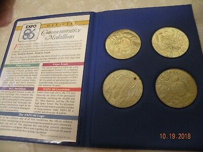 Vintage EXPO 86 Official Commemorative Medallions - Set of 4 in Case