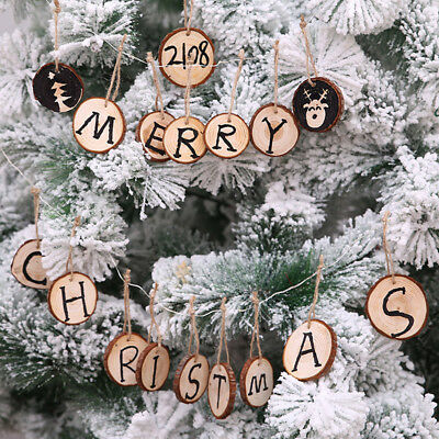 Wooden Craft Christmas Tree Hanging Pendants Xmas Kids DIY Ornaments Decor Z