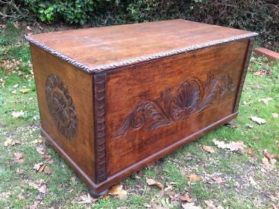 Large Antique Coffer Superb Solid Carved Oak Blanket Box 19thC. Mule Chest CHIC