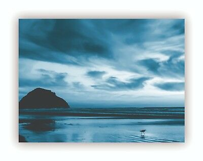 """By The Water"" Blue Abstract Giclee Print Canvas Framed Wall Art Decor Room Home"
