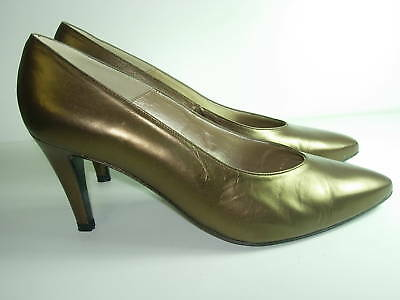 Damenschuhe BRONZE BROWN Metallic Leder Caressa Metallic BROWN High Heels Pumps Schuhes ... bc443e