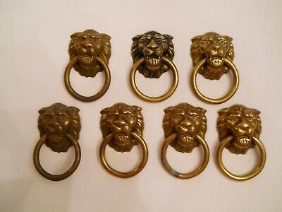 7 Antique BRASS DRAWER PULLS - LION HEADS - Metal Rings