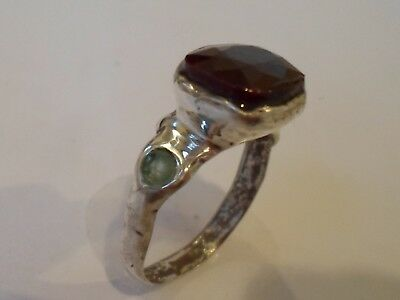X-MAS SALE,DETECTOR FIND, 200-400 A.D ROMAN SILVER RING WITH 100% REAL 3 ct RUBY