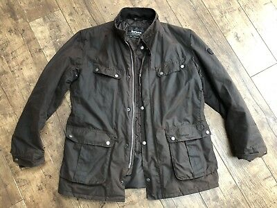 Men's Barbour Duke Brown Blue Quilted Wax Jacket XL!