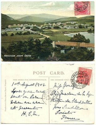 Great Britain 1908 Postcard Kingussie, Scotland, to Sandillion France
