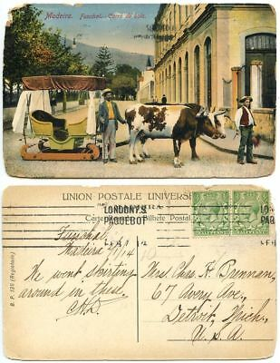 Great Britain 1914 Postcard Madeira, Funcal - Ox Cart, London Paquebot Cancel