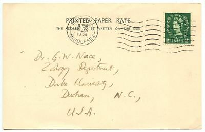 Great Britain 1956 Academic Postcard Southall, Middlesex to Durham NC