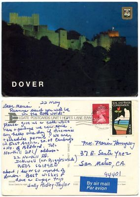 Great Britain 1984 Postcard Dover Castle, Winchcombe Pmk, British & U.S. Stamps