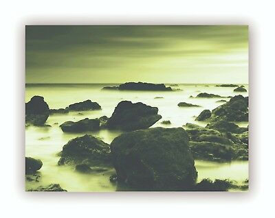 """By The Water"" Gold Natural Giclee Print Canvas Framed Wall Art Decor Room Home"
