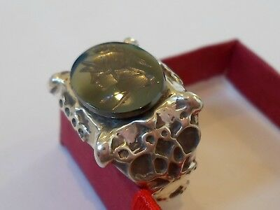 X-Mas Sale,detector Find, Late Roman/byzantine Silver Ring With Seal Stone.