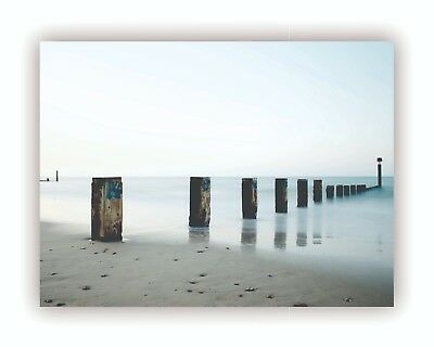 """By The Water"" Natural Ocean Giclee Print Canvas Framed Wall Art Decor Room Home"