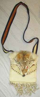 Vintage Hamd Made Extremely Rare Taxidermy COYOTE Head Leather Messenger Bag