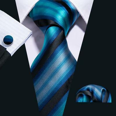 USA Mens Striped Tie Set Silk Jacquard Woven Black Blue Necktie Wedding Party