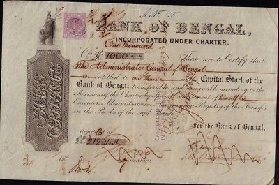 "INDIA : BANK OF BENGAL dd 1875 with 1 ""Anna"" Tax /Revenue Stamp"