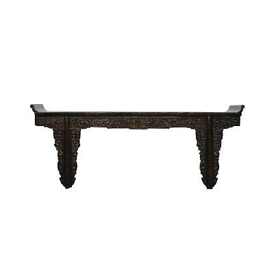 Chinese Vintage Dark Brown Dragon Carving Long Altar Console Table cs4567