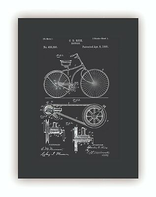 """Vintage Bicycle Patent"" Giclee Print Canvas Framed Wall Art Decor Room Home"