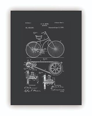 """""""Vintage Bicycle Patent"""" High Quality Giclee Print Canvas Wall Art Decor Home"""